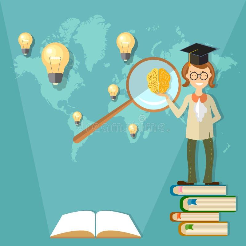 Éducation, étudiant international de formation, professeur illustration libre de droits