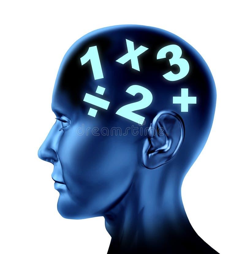 Éducation calculatrice d'esprit de cerveau de mathématiques de maths illustration de vecteur