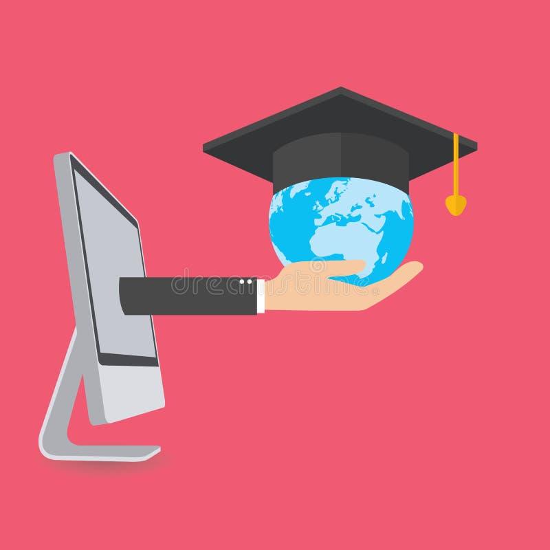Éducation, concept de étude en ligne, vecteur illustration libre de droits