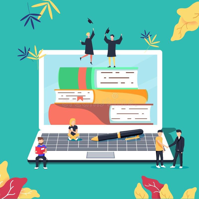 Éducation, cours de formation en ligne, illustration de vecteur de formation à distance Studyin d'Internet illustration stock
