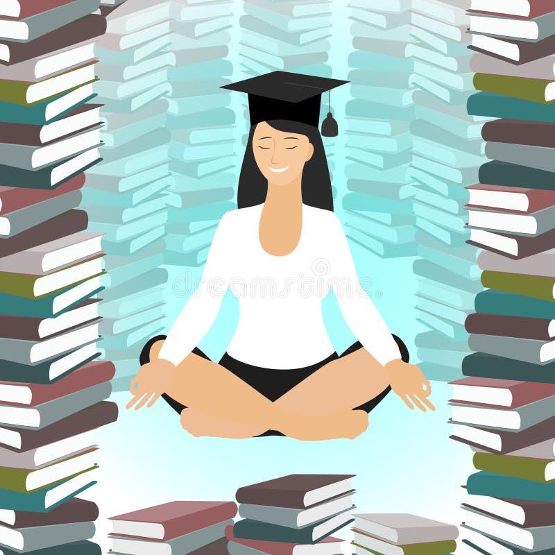 Éducation d'affaires Méditer caucasien de femme en position de lotus illustration stock