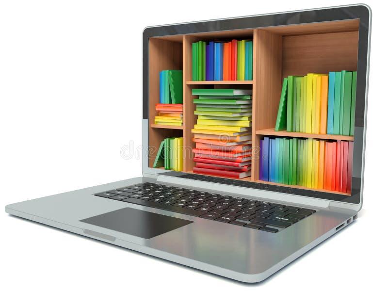 Éducation d'apprentissage en ligne ou bibliothèque d'Internet illustration stock