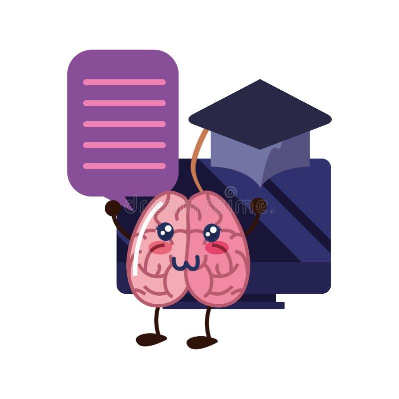 Éducation de bande dessinée de cerveau illustration de vecteur