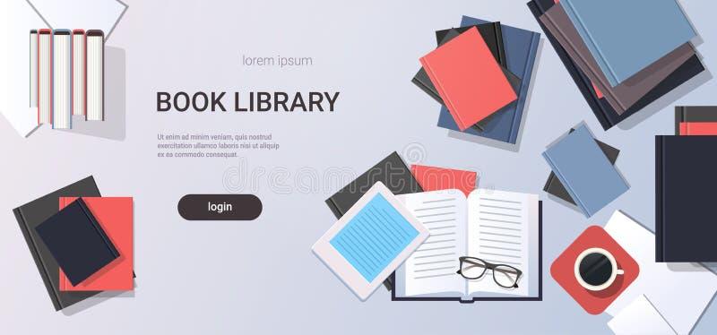 Éducation de bibliothèque de livre de vue d'angle supérieur d'eBook de manuels de bureau de lieu de travail apprenant l'espace pl illustration de vecteur