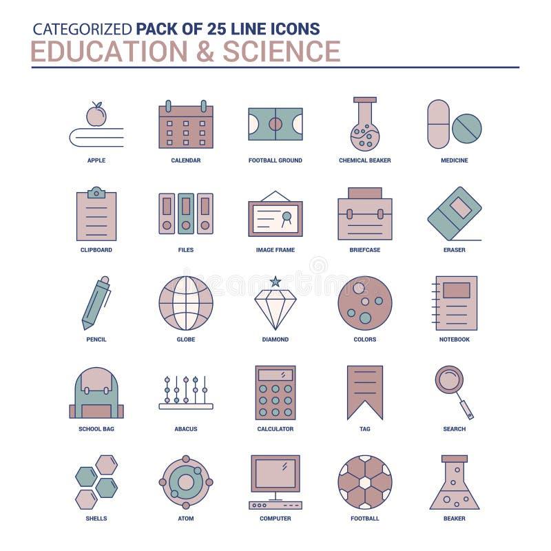 Éducation de cru et ensemble d'icône de la Science - 25 ligne plate ensemble d'icône illustration stock