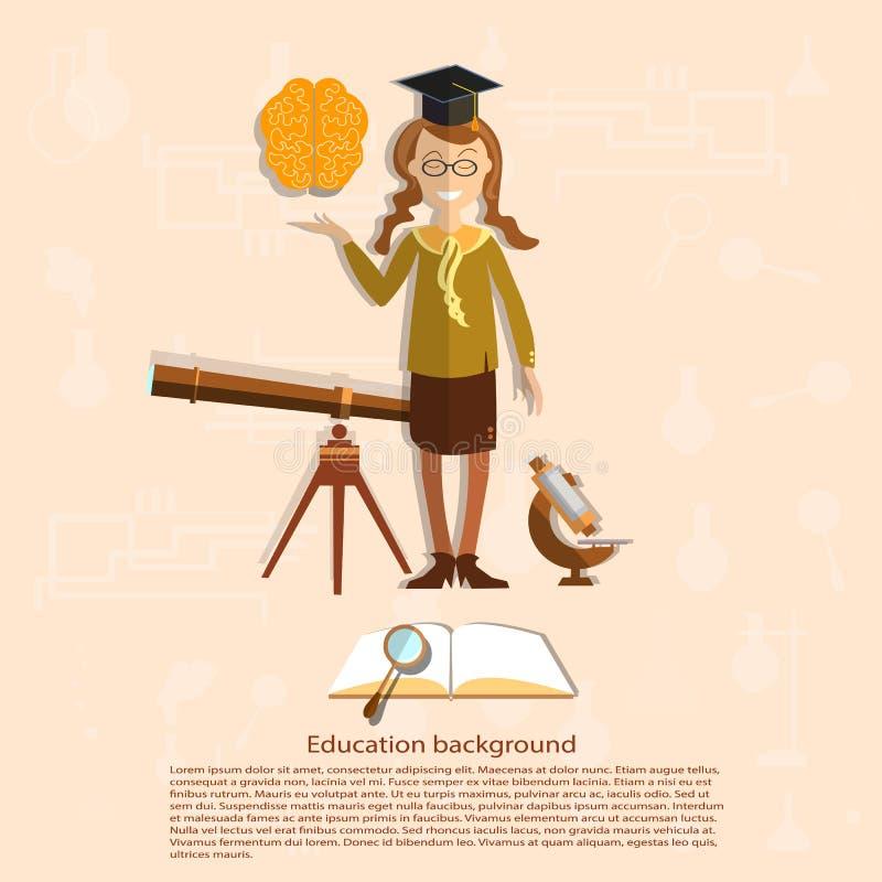 Éducation, de nouveau à l'école, fille d'école, astronomie illustration stock