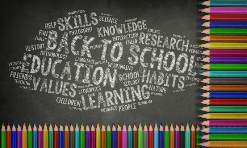 Éducation, de nouveau au concept d'école, tableau noir illustration stock