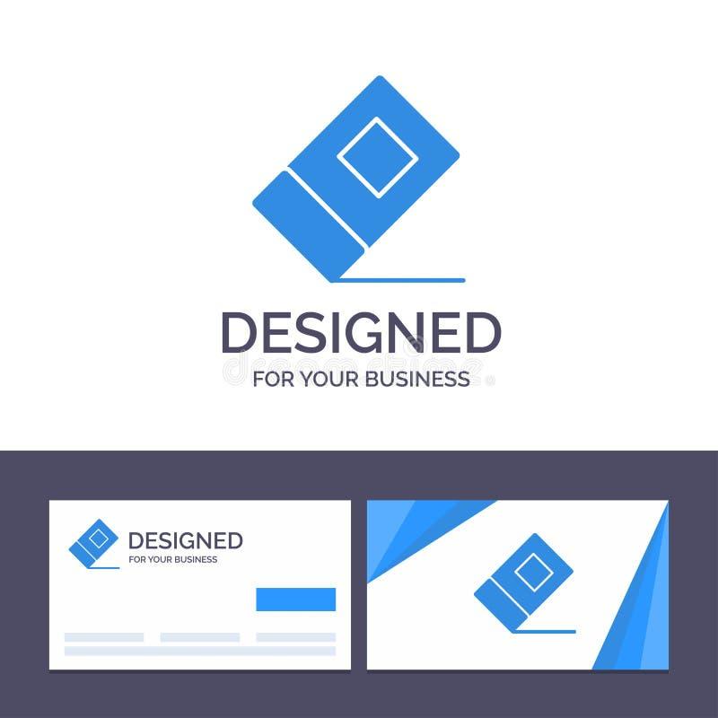 Éducation de visite de calibre créatif de carte de visite professionnelle et de logo, gomme, illustration stationnaire de vecteur illustration libre de droits