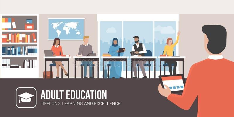 Éducation des adultes et formation permanente illustration stock