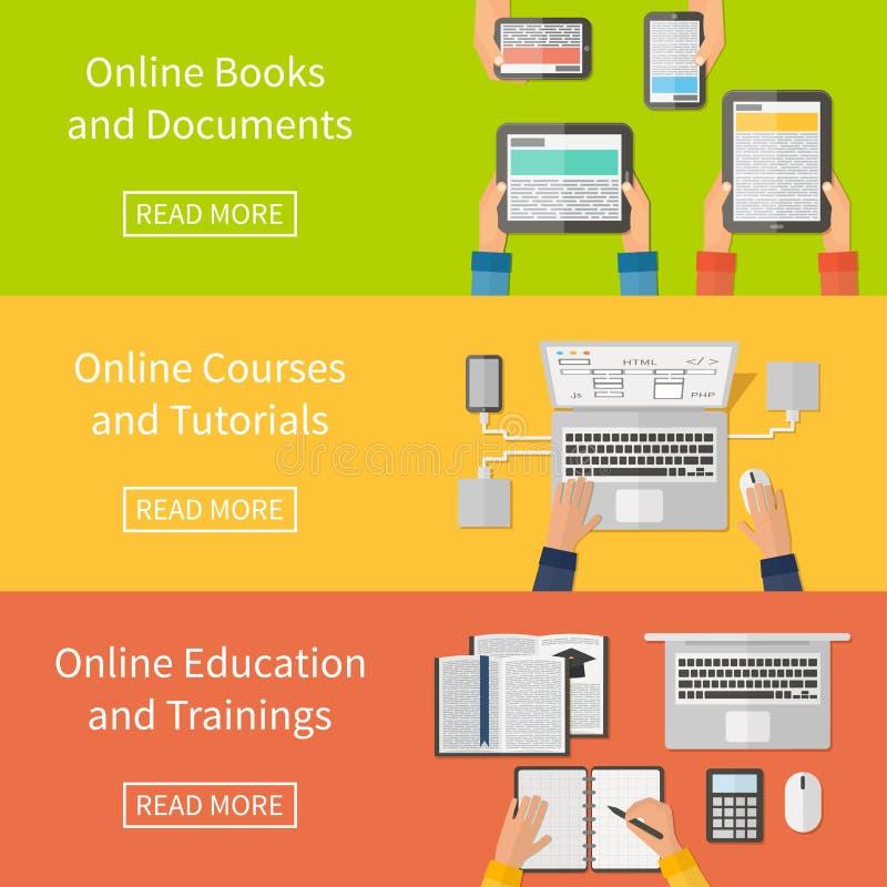 Éducation en ligne, cours de formation en ligne et illustration libre de droits