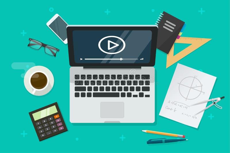 Éducation en ligne par l'intermédiaire de l'illustration de vecteur d'ordinateur portable, table plate de bande dessinée avec l'o illustration libre de droits