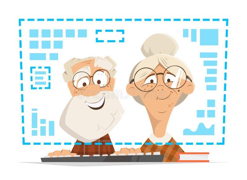 Éducation en ligne se reposante de personnes de moniteur d'ordinateur de femme de vieil homme illustration libre de droits