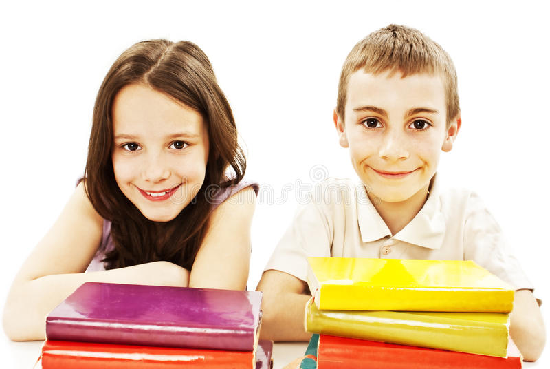 Éducation, enfants, bonheur, avec le livre coloré. photo libre de droits