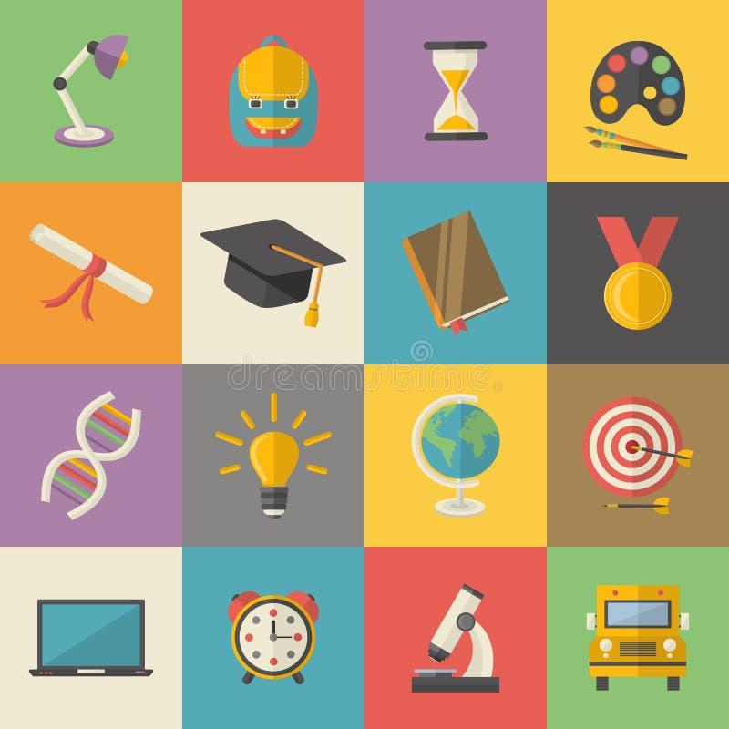 Éducation, ensemble d'icône de la connaissance à l'école plate d'illustration de vecteur de style, université illustration libre de droits