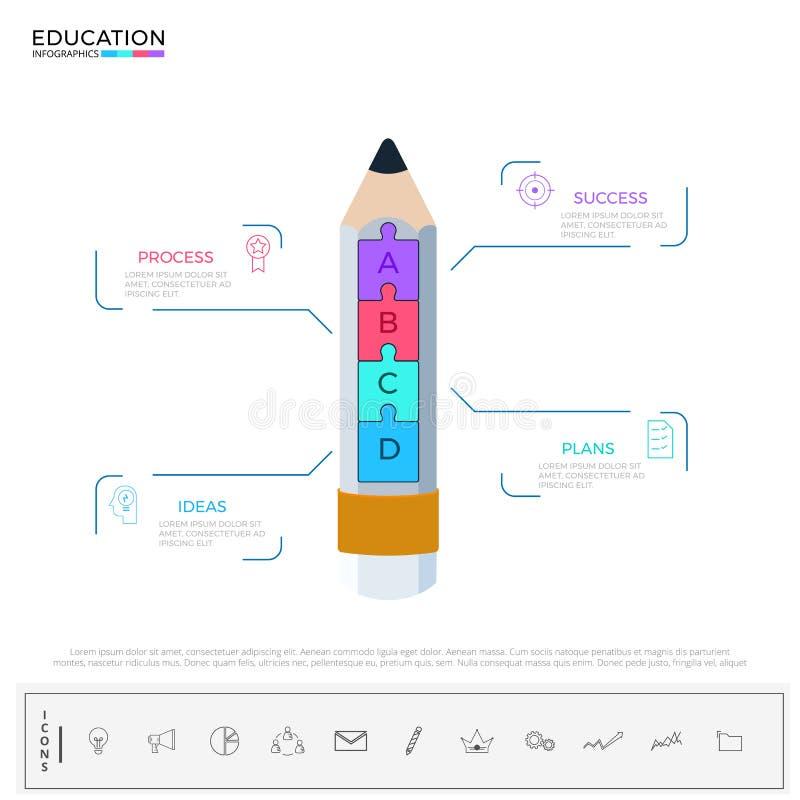 Éducation et étape d'obtention du diplôme à l'infographics de succès Tempate d'infographics de crayon avec des icônes et des élém illustration stock