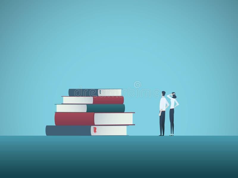 Éducation et étude du concept de vecteur avec deux étudiants regardant la pile des livres Symbole de la connaissance, apprenant,  illustration libre de droits
