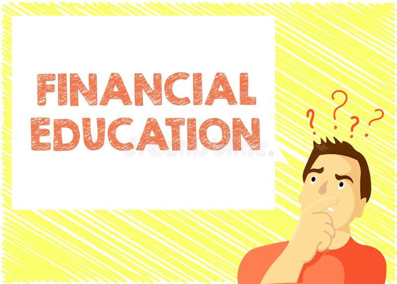 Éducation financière des textes d'écriture de Word Concept d'affaires pour comprendre des secteurs monétaires comme des finances  illustration stock
