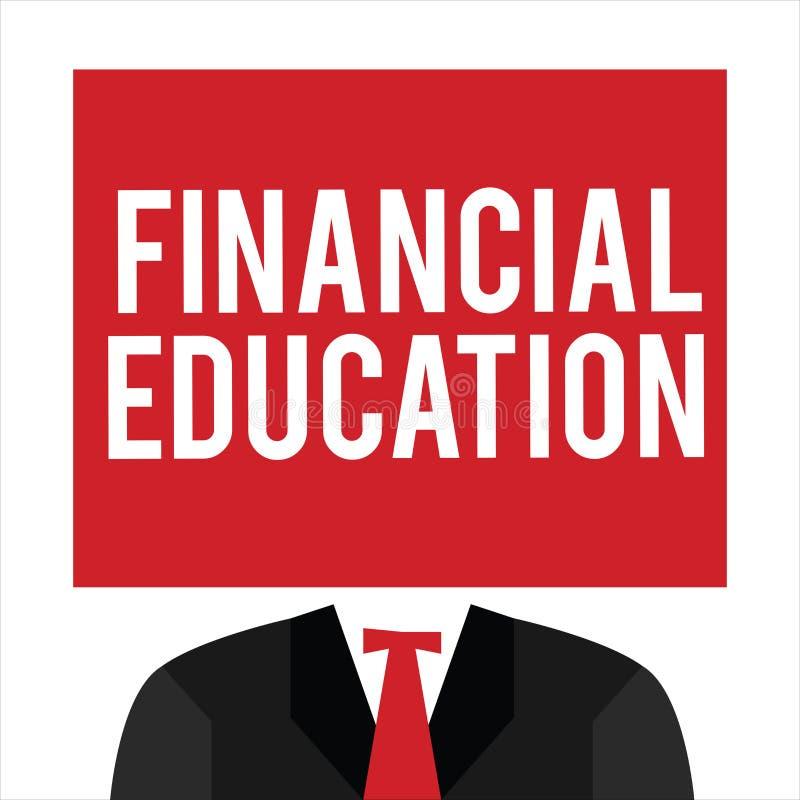 Éducation financière des textes d'écriture Signification de concept comprenant des secteurs monétaires comme des finances et l'in illustration de vecteur