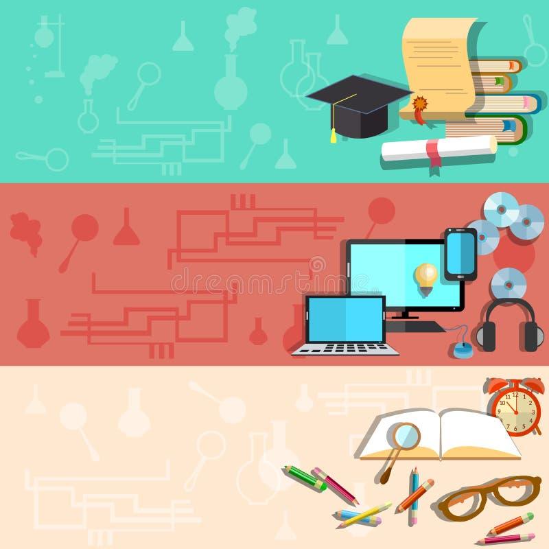 Éducation, formation en ligne, université, bannières de vecteur illustration de vecteur