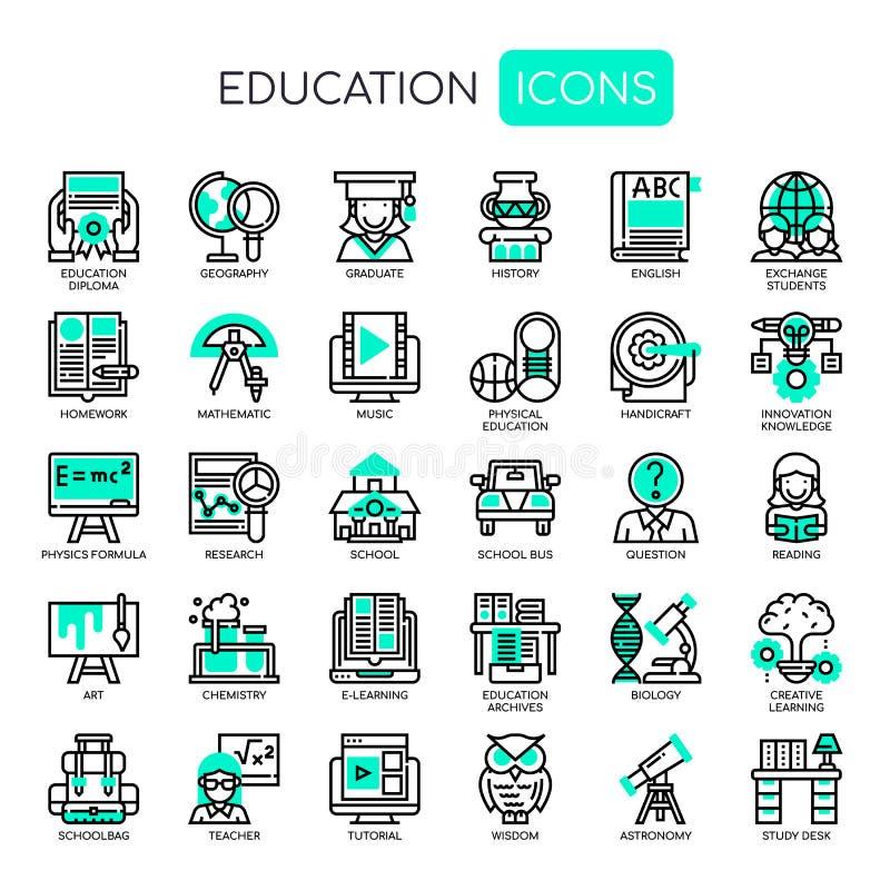 Éducation, icônes parfaites de pixel illustration stock