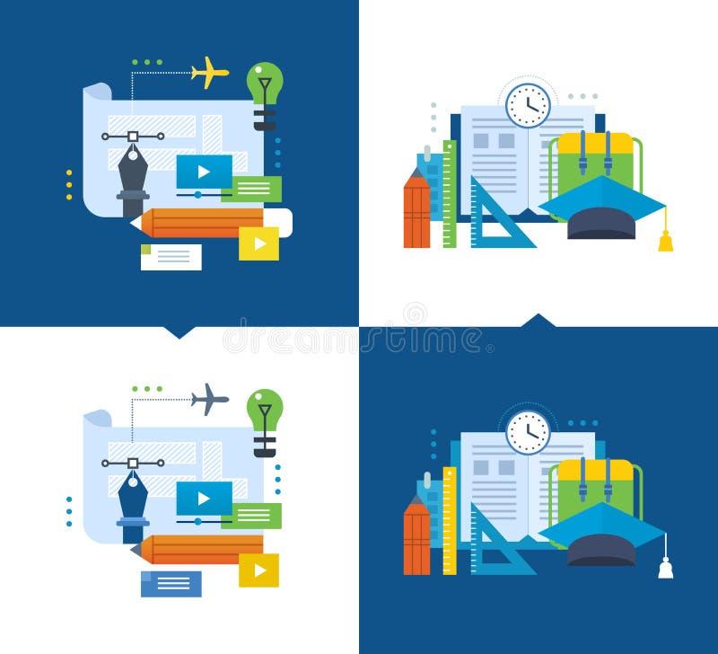 Éducation moderne, conception graphique s'exerçante par la vidéocommunication, cours en ligne illustration libre de droits