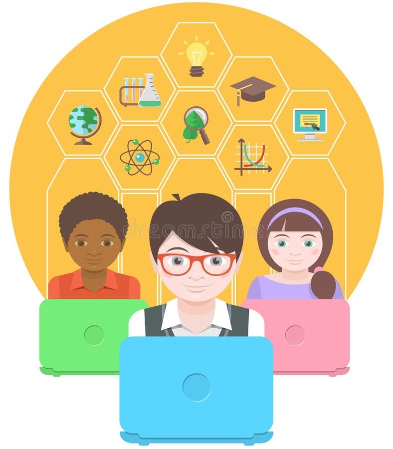 Éducation moderne par des ordinateurs illustration libre de droits