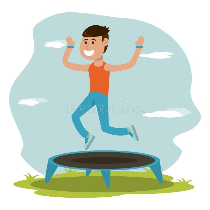Éducation physique - sport sautant de trempoline de garçon illustration libre de droits