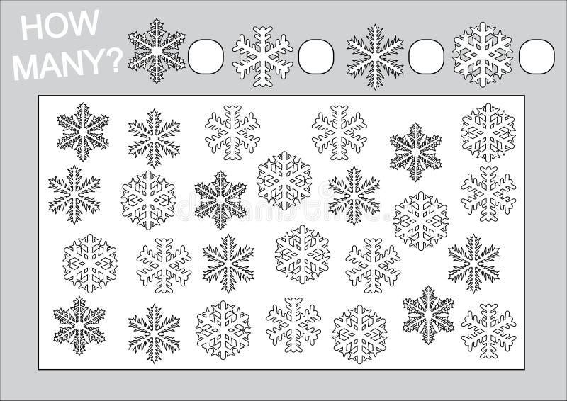 Éducation pour des enfants Comptez combien flocon de neige et page de coloration illustration de vecteur