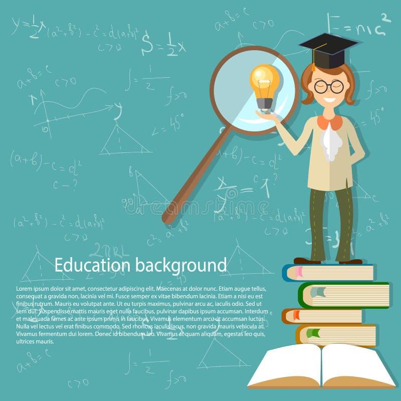 Éducation, professeur, de nouveau à l'école, manuel ouvert illustration de vecteur