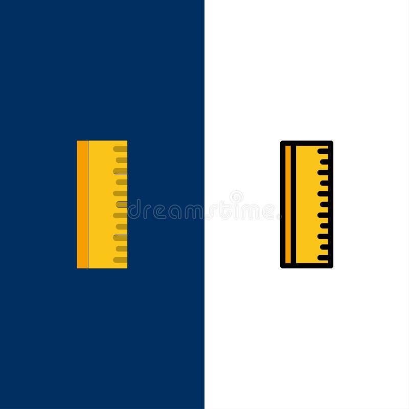 Éducation, règle, icônes d'école L'appartement et la ligne icône remplie ont placé le fond bleu de vecteur illustration de vecteur