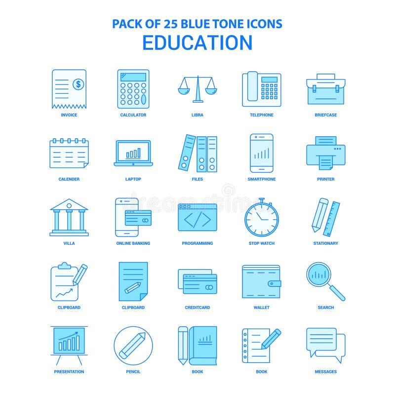 Éducation Tone Icon Pack bleue - 25 ensembles d'icône illustration de vecteur