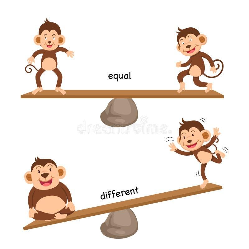 Égal et différent opposés illustration de vecteur