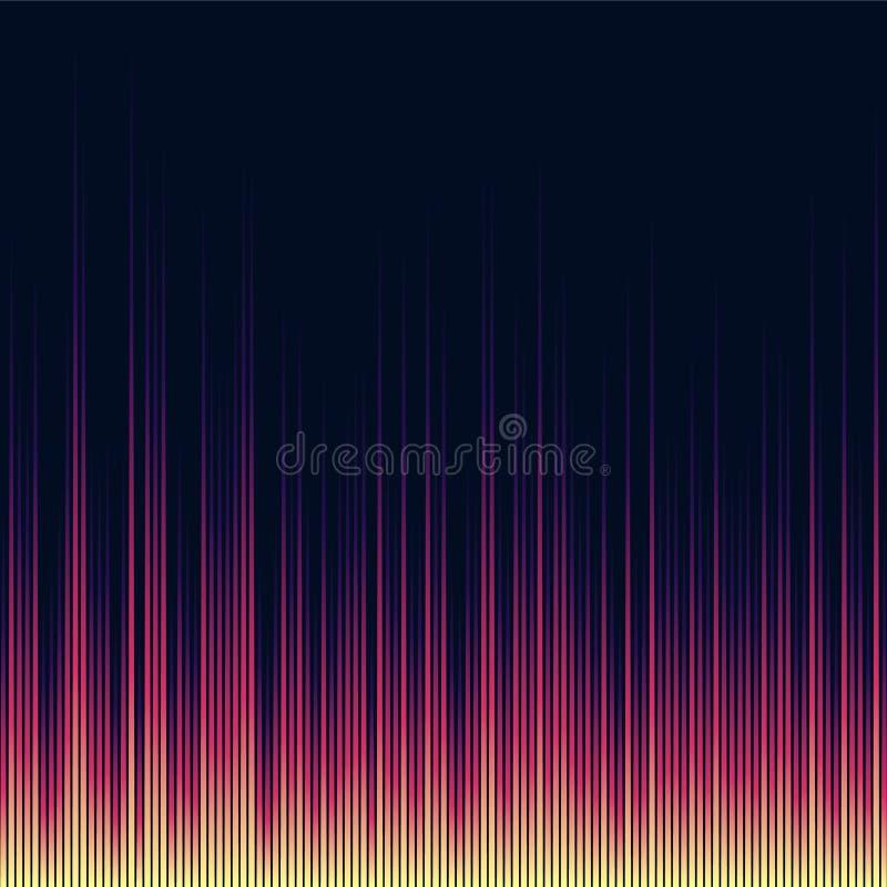 Égaliseur brillant lumineux de musique Vagues extraterrestres de résumé illustration stock