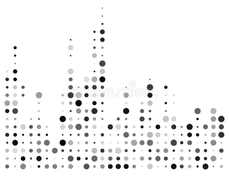 Égaliseur pointillé, symbole d'onde sonore d'isolement sur le fond blanc illustration stock