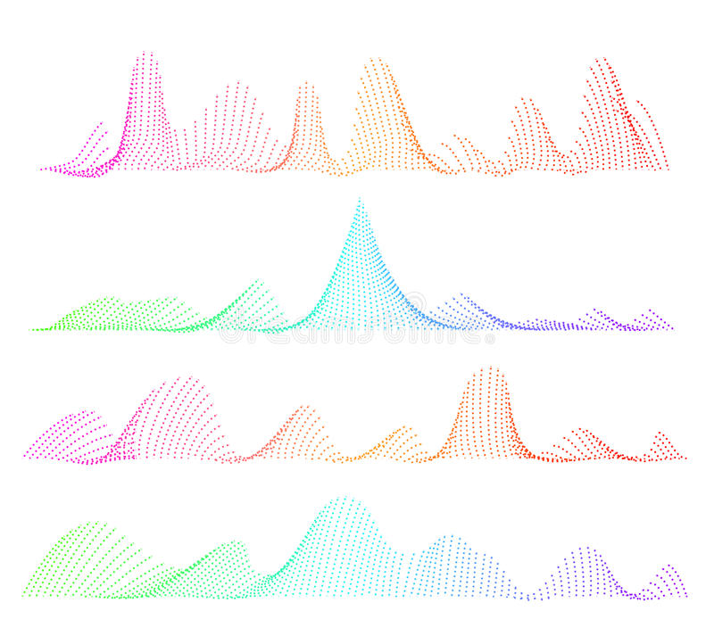 Égaliseur sain de vecteur, concept musical coloré Forme d'onde numérique de conception de vague audio illustration libre de droits