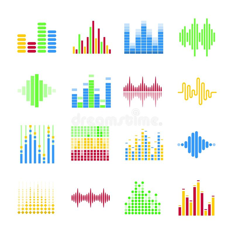 Égaliseurs musicaux colorés sous la forme de colonnes et d'onde sonore illustration de vecteur