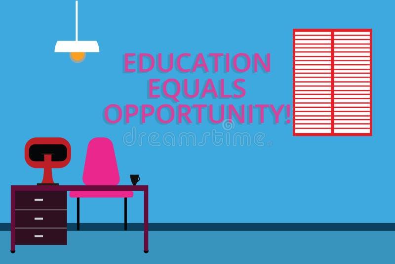 Égalité des chances d'éducation des textes d'écriture Concept signifiant les droites semblables d'acquérir des connaissances dans illustration libre de droits