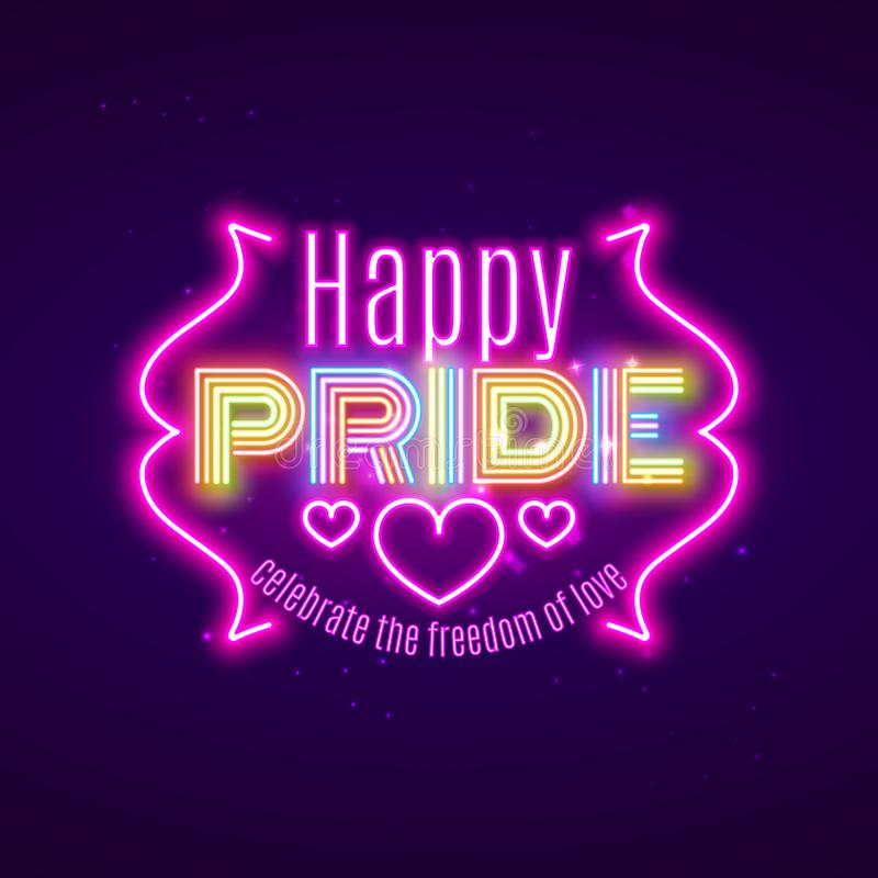 Égalité heureuse de la fierté LGBT, célébration gaie d'amour, conception au néon, VE illustration stock