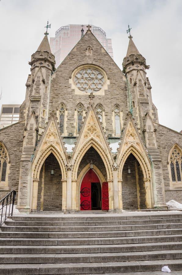 Église à Montréal un jour de chute de neige photos libres de droits