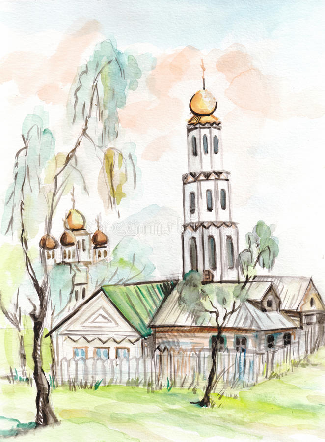 Download Église illustration stock. Illustration du watercolor - 45370645