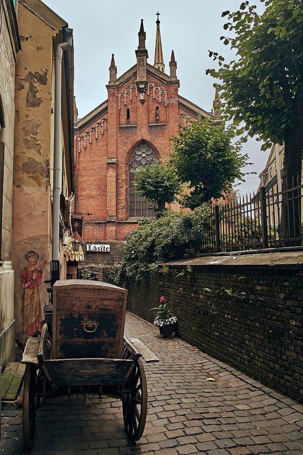 Église antique dans la vieille ville Riga Lettonie photo stock