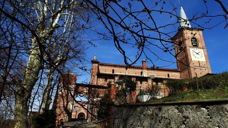 Église antique de Collegiata Village de Medioeval Castiglione Olona Italie photographie stock