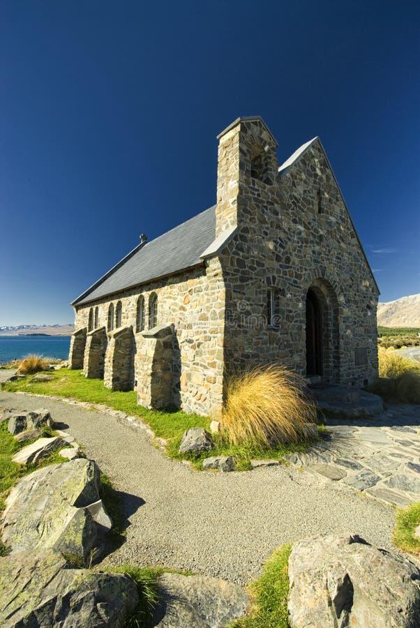 Église au lac Tekapo, Nouvelle Zélande image libre de droits