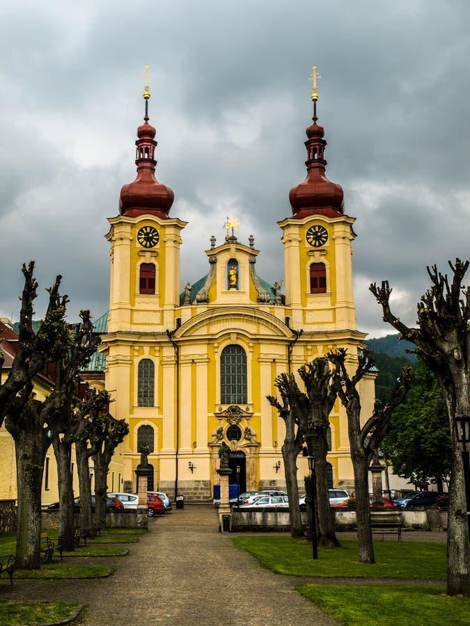 Église baroque dans Hejnice image libre de droits
