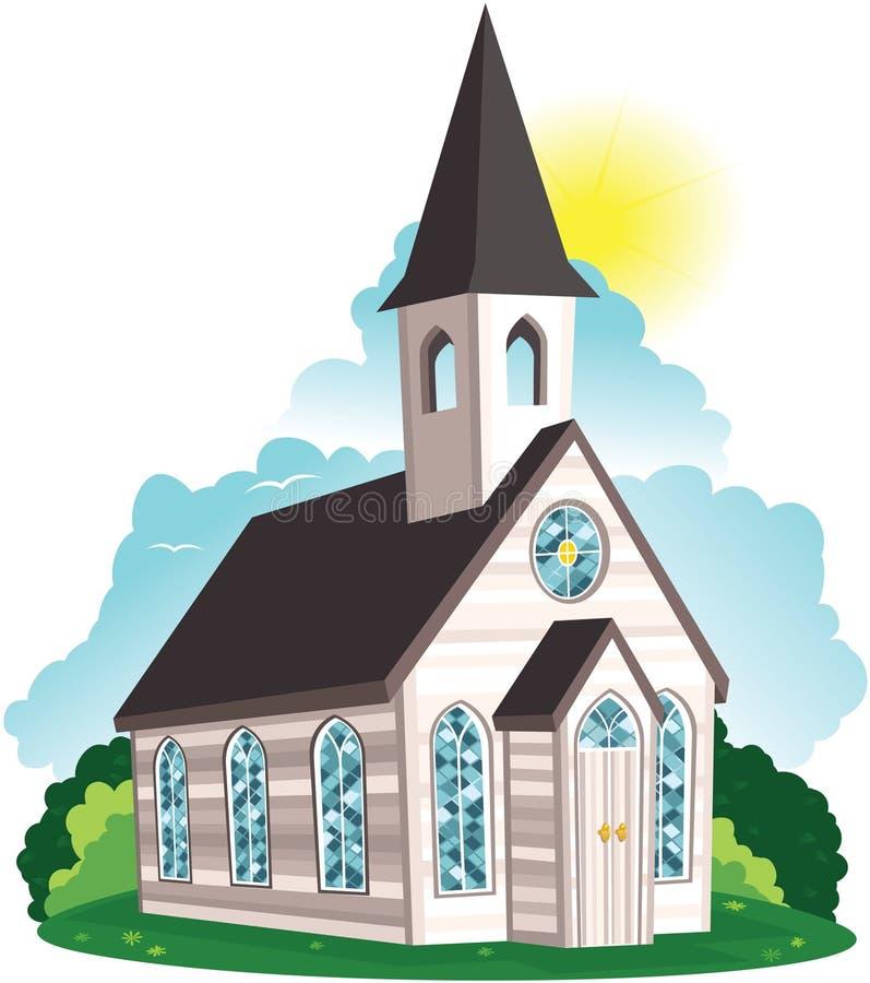 Église blanche de bardeau illustration libre de droits
