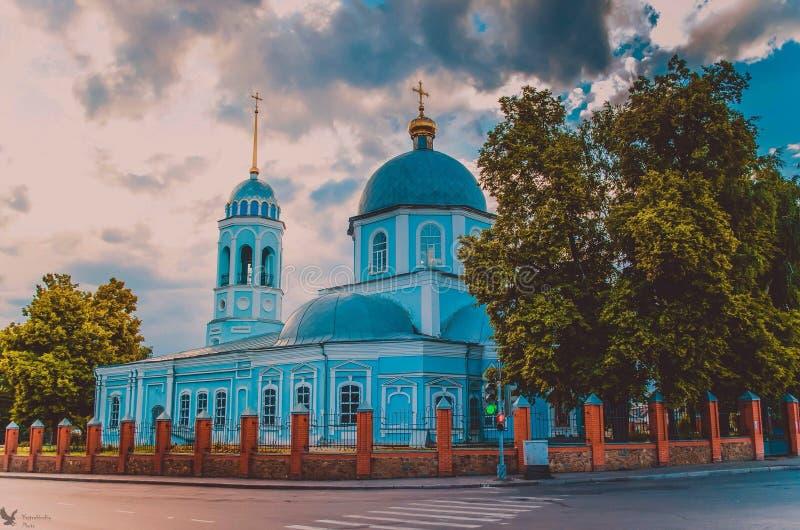 Église bleue images stock