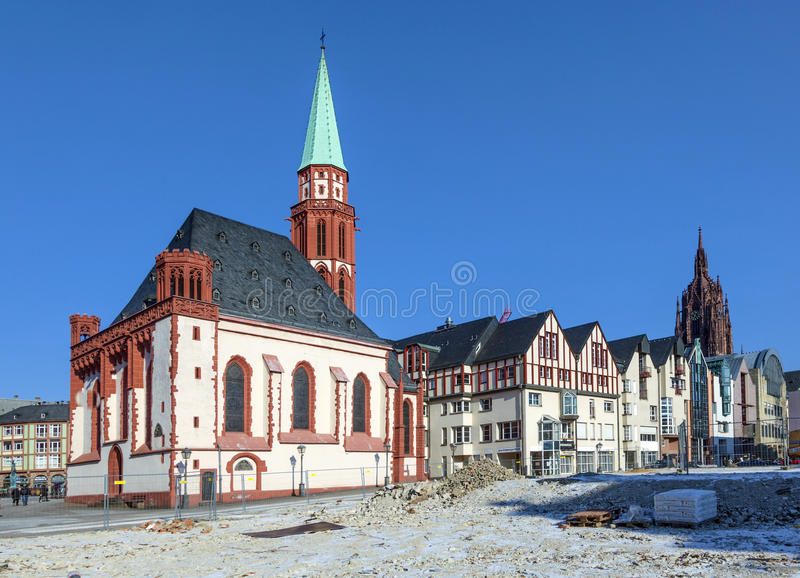 Église célèbre de Nikolai à Francfort sur Main images libres de droits