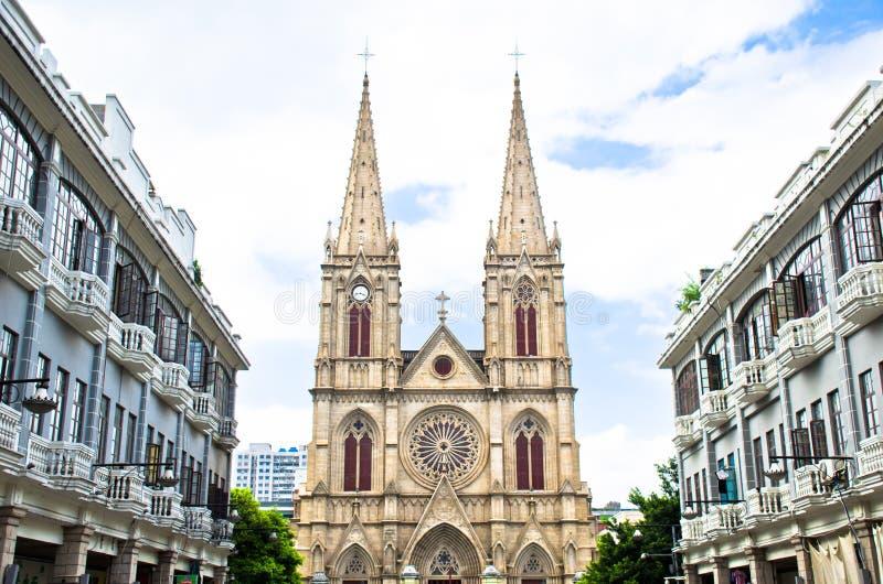 Église catholique dans Guangzhou, Chine photographie stock
