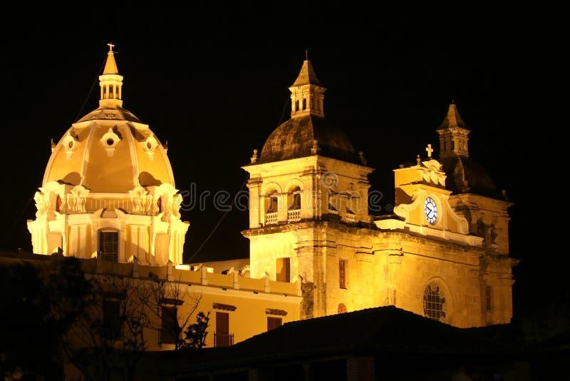 Église coloniale à Carthagène, Colombie images libres de droits