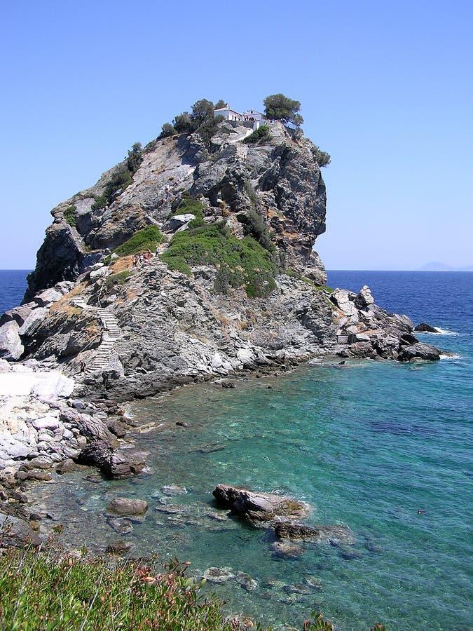 Église d'Agios Ioannis à l'île de Skopelos photos libres de droits